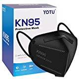 YOTU KN95 Face Masks 60 Pcs, Black & White, 5 Layers Cup Dust Mask, Individually Wrapped, Filter Efficiency 95%, Suitable for Home Work Restaurants Outdoors
