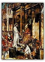 "Tintoretto (Jacopo Robusti) ""ピラトの前のキリスト"" 絵画 印刷 カンバス リビングルーム 壁の装飾 ティントレット ポスター ホーム 回廊 芸術 装飾"