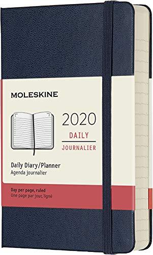 Moleskine 12 Mesi 2020 Agenda Giornaliera, Copertina Rigida e Chiusura ad Elastico, Colore Blu Zaffiro, Dimensione Pocket 9 x 14 cm, 400 Pagine
