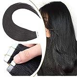 Extension Adhesive Naturel Cheveux Bande Adhésive Ruban Adhésif 20pcs - Rajout Extensions Cheveux Humains Naturels (#01 Noir, 40cm)