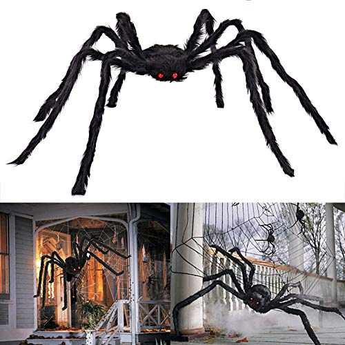 AISENO Halloween Decorations Scary Giant Spider Virtual Realistic Hairy Spider Outdoor Indoor Party Supplies Decor Black…