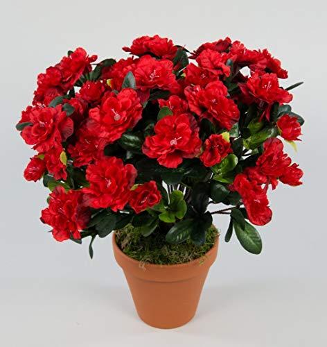 Seidenblumen Roß Große Azalee 36cm rot im Topf LA Kunstpflanzen Kunstblumen künstliche Blumen Pflanzen Azaleenbusch