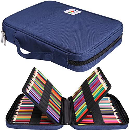 JAKAGO 166 Colored Pencil Case Waterproof Pen Organizer Large Capacity Pencil Bag Carrying Multi Pencil Case Holder for Marker, Gel Pen, Highlighters, Watercolor Pen, Brushes (Blue)