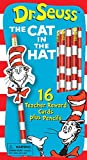 Eureka Back to School Dr. Seuss Cat in the Hat Pencils, Pencil Toppers, and Teacher Reward Cards for Students, 32pc