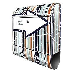 Banjado Design Briefkasten personalisiert mit Motiv WT Pfeil Und Streifen | Stahl pulverbeschichtet mit Zeitungsrolle | Größe 39x47x14cm, 2 Schlüssel, A4 Einwurf, inkl. Montagematerial