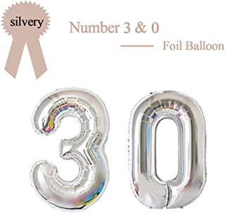 40 Inch Silver 30 Number Foil Balloon 30th Birthday Party Supplies Anniversary Events Graduation Decorations