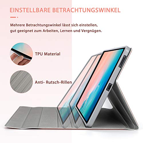 Jelly Comb Beleuchtete Tastatur Hülle für Samsung Galaxy Tab S6 Lite 10,4 Zoll 2020, Abnehmbare Bluetooth QWERTZ Tastatur mit Schützhülle für Samsung Tablet P610/P615, Rosa Gold