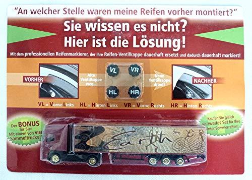 wuselwelt (547) 4 Stück Reifenmarkierung + Bonus Sammeltruck, Ventilkappen, Reifenmarkier-Set, Radmarkierer,...