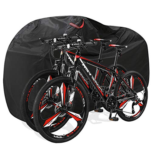 DerBlue Bike Cover for Outdoor Bicycle Storage - Large 1, XL 1-2, XXL 2-3 Bikes - Heavy 210D Oxford Material, Waterproof & Anti-UV - Protection from All Weather Conditions for Mountain & Road Bikes