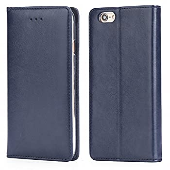 iPhone 6S Plus Leather Case IPHOX Premium Folio Leather Wallet Case with [Kickstand] [Card Slots] [Magnetic Closure] [Hand Strap] Flip Notebook Cover Case for iPhone 6 Plus /6S Plus E Blue
