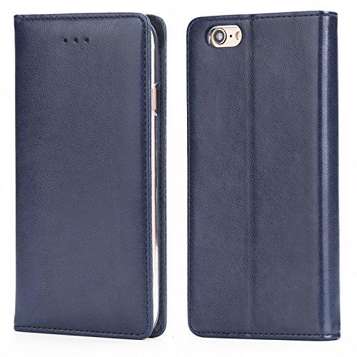 Funda iPhone 6 / 6S, IPHOX Cuero Fundas iPhone [Ranuras para Tarjetas][Cierre Magnético] [Soporte Plegable] [Ultra-Delgado]TPU Parachoques Cover Para Apple iPhone 6S / 6(Blue)