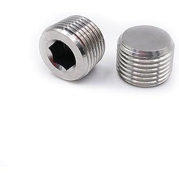Joyway Soild Stainless Steel Outer Head Hex Thread Socket Pipe Plug Fitting 1-1//4 NPT Male