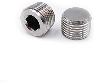 """Metalwork 304 Stainless Steel Pipe Fitting, Hex Countersunk Plug (1/8"""" NPT Male, Pack of 5)"""