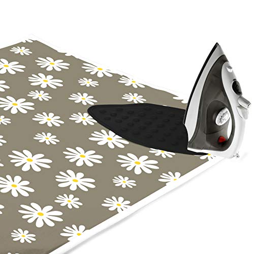 Encasa Homes Case da Stiro stuoia/Pad 120x70 cm con Imbottitura da 3 mm e Supporto in ghisa siliconica per la pressatura a Vapore sul Tavolo o sul Letto - Daisy Grey