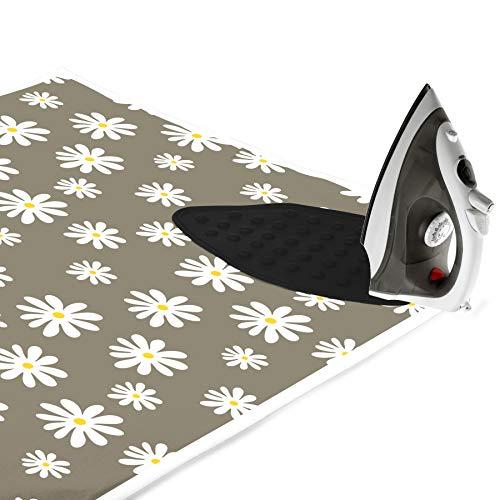 Encasa Homes Alfombrilla de Planchar (120 x 70 cm) con Acolchado de 3mm y Soporte de Plancha de Silicona para Planchar a Vapor sobre la Mesa o la Cama - Resistente al Calor, portátil - Daisy Grey