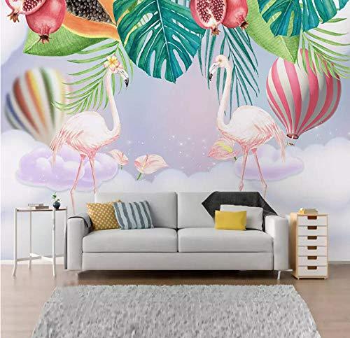 Aangepaste 3D Foto Behang Roze Bloemen Vogels Handgeschilderd Cartoon Mural Kinderen Kamer Slaapkamer Decoratie Muurschildering Wallpaper-200X140CM
