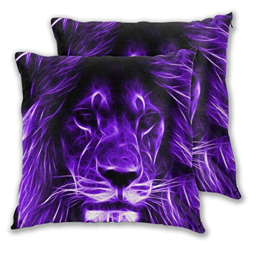 JONINOT 2 PCS 20'x20' Lion Throw Pillow Cushion Case,Inserts are Not Included