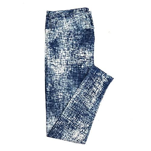 Lularoe Tall Curvy TC White Blue Abstract Cross Hatch Geometric Buttery Soft Womens Leggings fits Adults Sizes 12-18 TC-7316-28