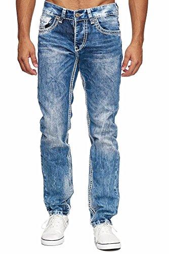 Amica MEGASTYL Herren Männer Jeans Basic Streetwear Dicke Nähte Regular Fit, Größe:W32 / L32, Farbe:Blue