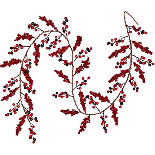 Artiflr 6 Feet Red Berry Garland Christmas, Berry Twig Garland Wired Stems with Bulk Assorted Large Berries and Berry Clusters Rustic for Holiday Fireplace Table Runner Centerpiece Decor