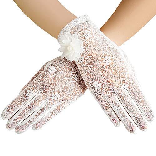 ArtiDeco Damen Lace Handschuhe Satin Braut Hochzeit Spitze Handschuhe Opera Fest Party Handschuhe 1920s Handschuhe Damen Kostüm Accessoires (Kurz Blume Weiß)