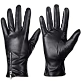Winter Leather Gloves for Women, Touchscreen Texting Warm Driving Gloves by Dsane (Black, L)