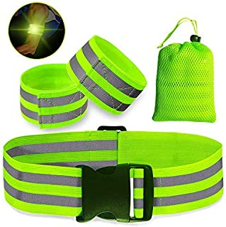 High Visibility Reflective Glow Belt - Army PT Belts, Adjustable Waist & a Storage Bag - Reflective Running Gear for Men and Women - Night Running Cycling Walking - Premium Safety Reflector Strips