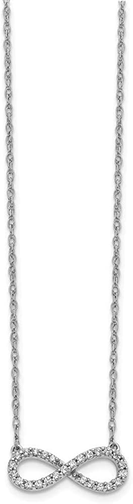14k White Gold Diamond Infinity Symbol 18 Inch Chain Necklace Pendant Charm Fine Jewelry For Women Gifts For Her