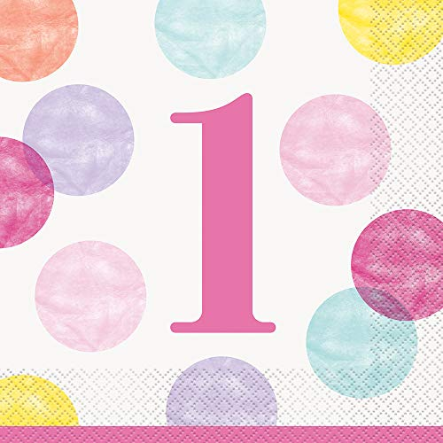 Papierservietten - 16,5 cm - Rosa Punkte 1. Geburtstag - Packung mit 16 Stück