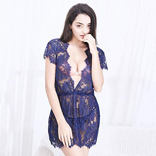 B/H Sexi, Ajustado, Body,Pijamas Sexy Huecos de Encaje con Perspectiva en v Profundo, Vestido Sexy Sexy-Blue_XXL,Transparente Mini Bodydoll Sexy con Tapa