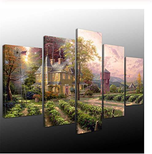 GTomorrow Leinwand Bilder Thomas Kinkade Abundant Fertig Aufgespannt,Vlies Leinwand, 5 Teilig,Wand Bild, Kunstdrucke, Wandbild 150X80Cm(A)