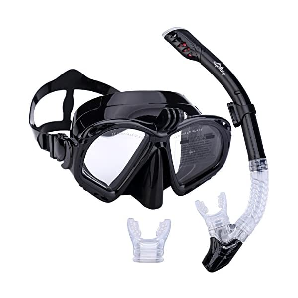 Supertrip Premium Snorkel Set Adult with 2 Mouthpieces Diving Mask Snorkeling Diving Swimming Goggles Mask Dry Snorkel Set with Camera Mount