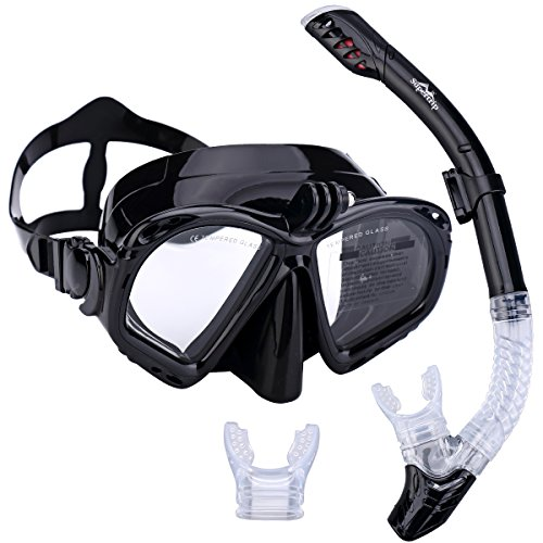 Supertrip Premium Schnorchel-Set für Erwachsene mit 2Mundstücken, Tauchermaske, Schnorcheln, Tauchen, Schwimmbrillenmaske, Trockenschnorchel-Set mit Kamerahalterung, schwarz