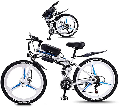 CASTOR Electric Bike Bikes, Folding Electric Mountain Bike 26 Inch Fat Tire bike 350W Motor, Full Suspension And 21 Speed Gears with LCD Backlight 3 Riding Modes for Adult And Teens