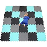 Alfombra Puzzle para Niños Bebe Infantil - Suelo de Goma EVA Suave. 25 Piezas (30 * 30 * 1cm), Negro, Verde, Gris.QQC-DHLb25N