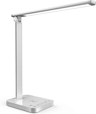 Smart LED Desk Lamp with Wireless Charger APP & Voice Remote Control, Desk Light Touch Control Adjustable Brightness & Color 30min Timer Memory Function Compatible with Echo Alexa Google Home, Silver