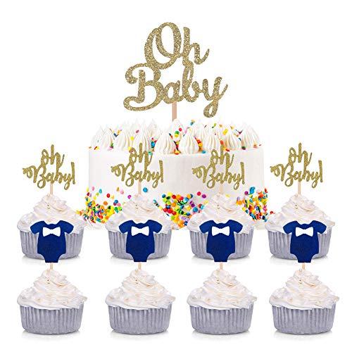 ENSTAB 25 Stück Babyparty Tortendeko Junge OH Baby Kuchendeko Tortendekoration Taufe Junge Cupcake Toppers Baby Shower Dekoration
