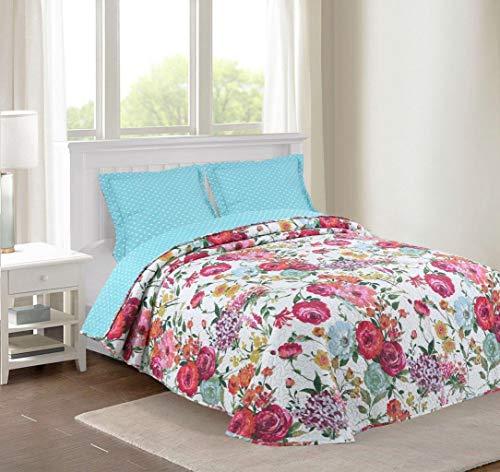 Sibiles - Colcha de Verano Floral Bouti para Cama 135 y Cama 150 Estampado Flores Multicolor (235x260 cm - Cama 135/150)
