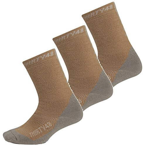 Premium Hiking Socks by Thirty48 :: Cushioned Anti-Bacterial Vegan Wool :: HK Series :: Thermal Performance Crew Socks :: Anti-Odor Moisture Wicking Poly :: Best Socks for Hiking, Mountain Climbing, Winter, Outdoor, Boots, Camping, Travel :: 3 Pack Brown/Gray X-Large