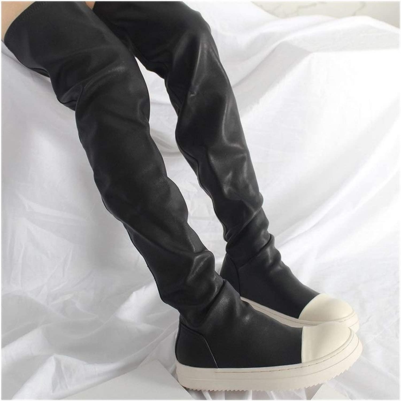 Round Toe Slip-On Casual Over-The-Knee Lange Stiefel for Frauen Flach Mit Plattform Herbst Winter Oberschenkel Stiefel Mischfarben Med Schuhe