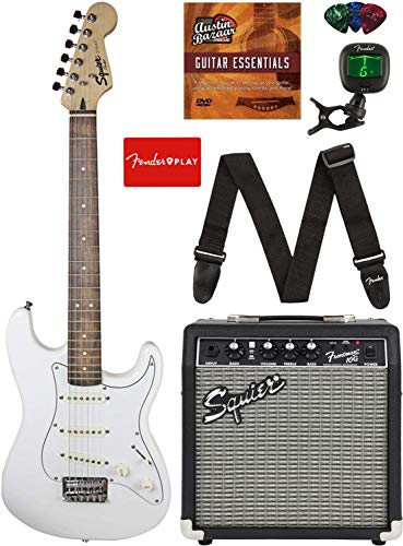 Squier by Fender Short Scale Stratocaster - Olympic White Bundle with Frontman...