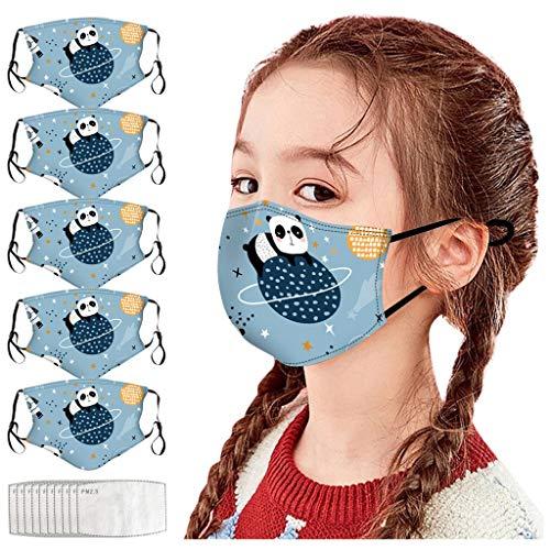 1106 5PC Visage_Masque Enfants Bandana de Visage étanche à la poussière Lavable réutilisable en Plein air avec Impression Mignonne et Crochet d'oreille réglable(Unisexe,avec 10 F ilter) JIekyoi