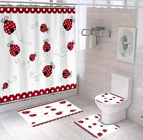Marienkäfer Duschvorhang Set 4-Teilig, Duschvorhang Wasserdicht + Badematte + U-Förmige Konturmatte + Toilettensitzbezug + 12 Haken