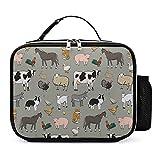 Bolsa De Almuerzo Para Niños Vaca, Zorro, Cabra Bolsa Térmica Impresión Bolsa De Picnic Lunch Bag 21x27x9cm