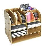 Organisateur de bureau carré en bois | Papeterie de bureau et stockage de documents | Organisateurs de fichiers et magazines A4 | 13 compartiments | Porte-crayon | Pukkr