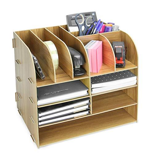 Organizador de escritorio cuadrado de madera | Papelería de oficina y almacenamiento de documentos | Organizadores de archivos y revistas A4 | 13 compartimentos | Portalápices | Pukkr