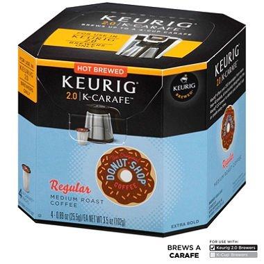 Donut Shop Regular Keurig K-Carafe Coffee - 4 Ct. - Medium Roast (4 Individual Servings - 3.5 oz. Net Wt.)