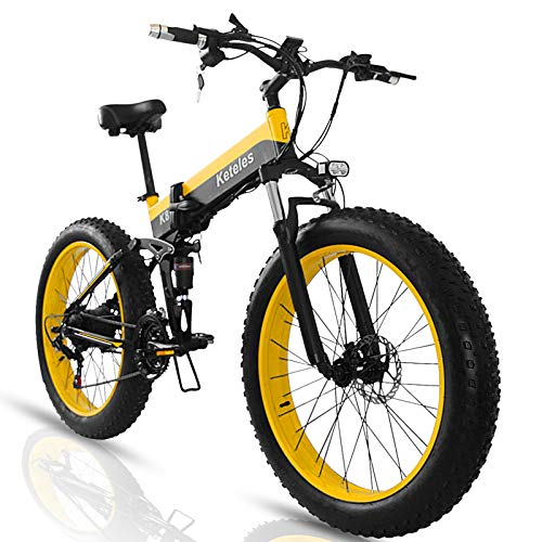 """Bici Elettrica Pieghevole Mtb E-bike Fat Bike, 1000W Bicicletta Elettrica a Pedalata Assistita Unisex Adulto, Batteria Removibile da 48V 15A, Pneumatici da 26"""" x 4.0"""""""