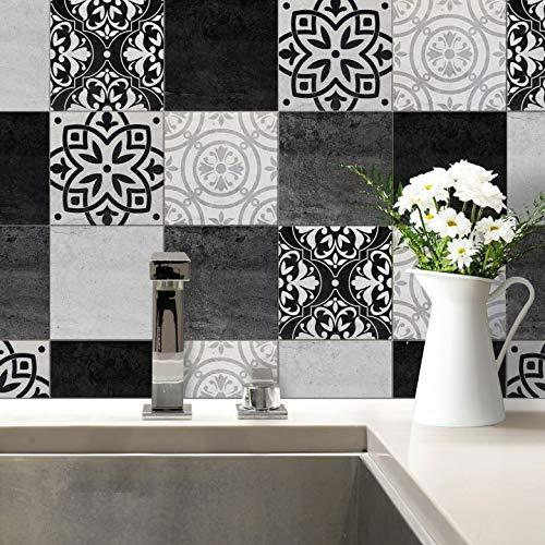 Tegelstickers patchwork beton stickers zelfklevend keuken badkamer tegels ornament zwart grijs tegeldeco set Wall-Art 10x10 cm (4er Set) zwart