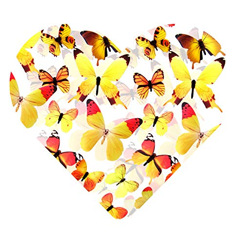DEKOWEAR® 3D Schmetterlinge realistisch | Wanddekoration mit Klebepunkten zur Fixierung Wandtattoo Wandsticker Wanddeko | Schmetterling Deko [Orange, 12er Set]